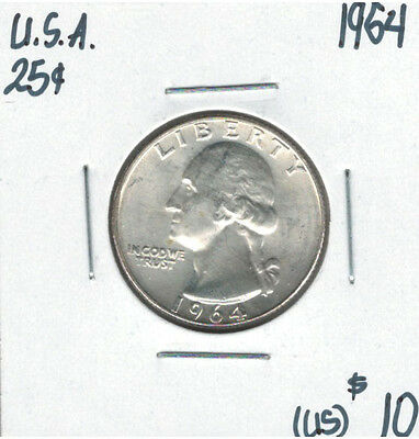 United States USA 1964 Quarter 25 Cents Washington