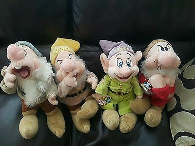 Set of 4 Disney Store Seven Dwarfs (Snow White) Plush Soft Toys 16""