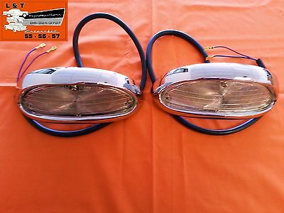 1955 Chevy Chrome Park light Housings Turn Signals Complete With Wires Belair
