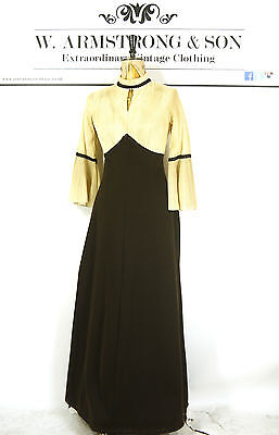 VTG 70s LOUIS Brown Empire VICTORIAN Florence Pleated MAXI Bell Sleeves Dress 8