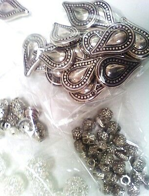 jewellery making joblot - silver colour. Huge mix of beads & findings.