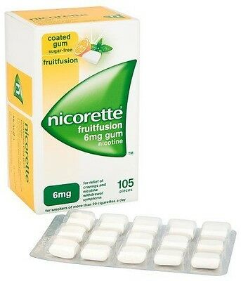 Nicorette Fruit Fusion Sugar-Free 6mg Coated Gum Nicotine  - 2 X 105 Pieces -
