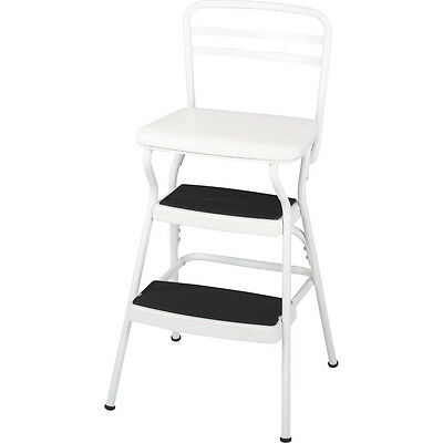 Cosco Chair Step Stool White Vinyl 24 Inch High Cushioned Seat Retro NEW