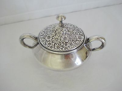 Towle Contessina Sugar Bowl Silverplate Silver Covered Dish Mid Century Floral
