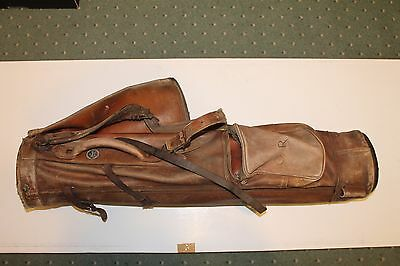"Vintage ""Gleneagles"" Leather Golf Bag for Repair or Restoration with Rainhood"