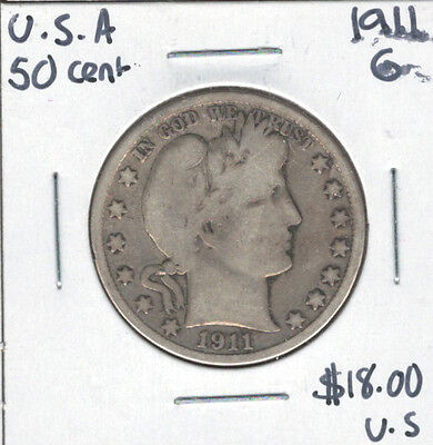 United States USA 1911 Silver 50 Cents G