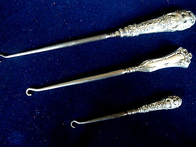 3 Antique Silver Handled Button/Boot Hooks