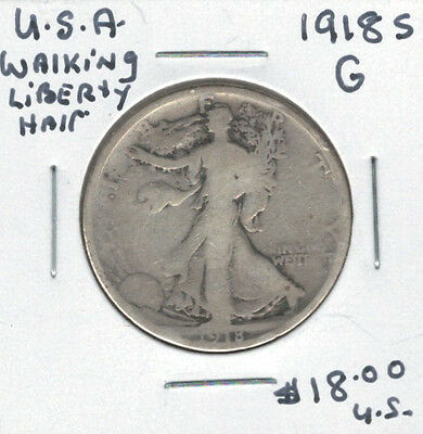 United States USA 1918s Silver 50 Cents G Walking Liberty