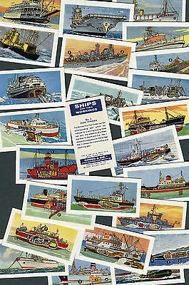 """Ching 1961 Set Of 25 """"ships And Their Workings"""" Cigarette Cards"""