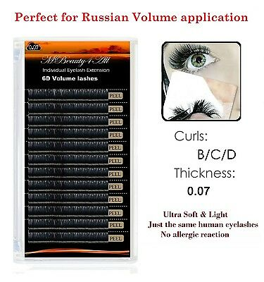 Russian Volume Lashes 3D-6D Individual Eyelash Extensions 0.07  /curl-C / 11mm