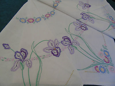 "Vintage Hand Embroidered Linen Table Cover Tall Iris s 48""x50"""