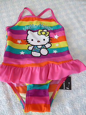 baby girls hello kitty swimsuit cossie pink multi stripes stars 12-18 months NEW