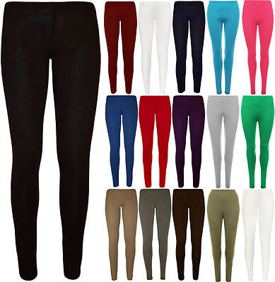 Girls Leggings Plain Viscose Full Length Kids 4-13 Years Stretchy Dance Ballet