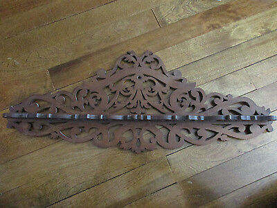 Antique French Ornate Cutout Wood Wall Hanging Filigree Carved Shelf (t)
