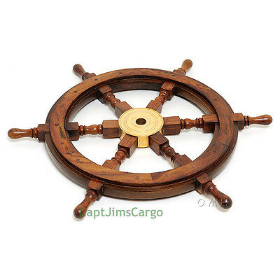 "Nautical Rosewood Ship's Wheel 36"" Solid Brass Hub Pirate Boat Wall Decor New"