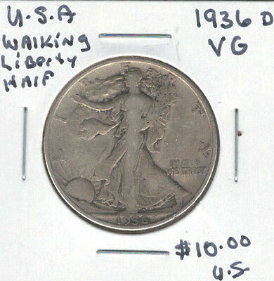 United States USA 1936D Silver 50 Cents VG Walking Liberty