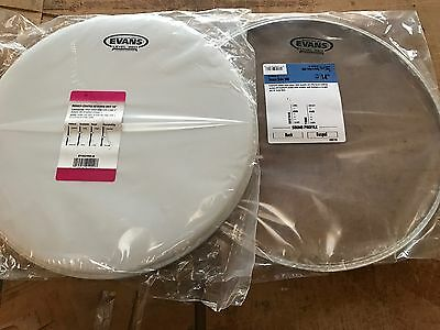 "Evans 14"" G1 Coated & Hazy Snare Drum Head Skin Pack S14H30, B14G1"