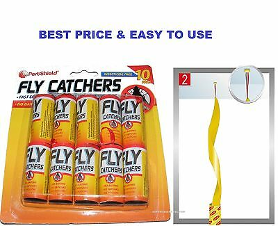 Pack Of 10 Insect Catchers Killer Tape Strip Pest Wasp Bug Window Fly No Poison