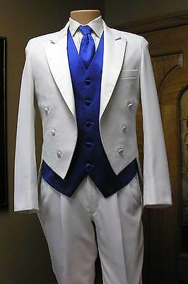 White Tail Tuxedo Tailcoat Formal Jacket Steampunk Cosplay Costume Prom