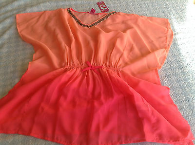 girls beach cover up swimsuit kaftan blouse top coral studs 8-13 years NEW TAG