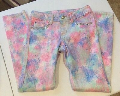 JUSTICE Premium JEANS Girls Simply Low PINK & Blue SPLATTER JEANS Size 10R