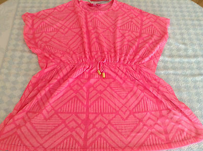 girls beach cover up swimsuit kaftan blouse pink poly-cotton 7-13 years NEW TAG