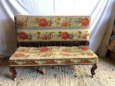 Victorian Rosewood Settee Chaise or Hall Seat potential upholstery project