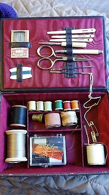 Antique Leather Sewing Box With Needles Celluloid Tools Thread Spools Germany
