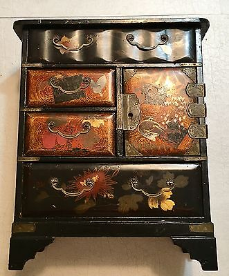 HOLIDAY SALE! Chinese Asian Lacquer Jewelry Salesman Sample Miniature Dresser