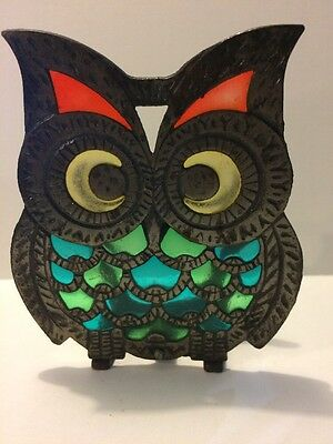 Vintage MCM Stained Glass Style Owl Napkin Holder Orange Yellow Blue Green
