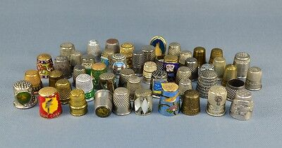 50 Assorted Collectable Metal ,pewter Thimbles
