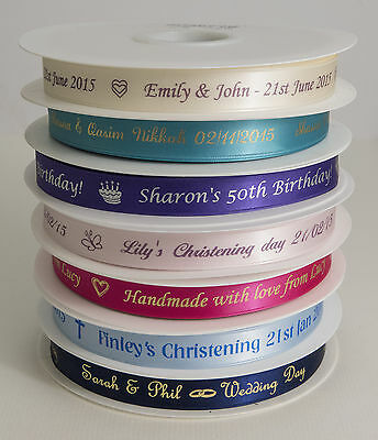 10m x 15mm Personalised printed Ribbon wedding favour box christening