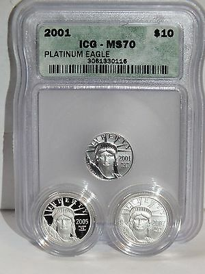 Qty (3) 1/10 Oz 2001 05 07 Burnished Proof Mint State 999.5 Platinum Eagle Coins