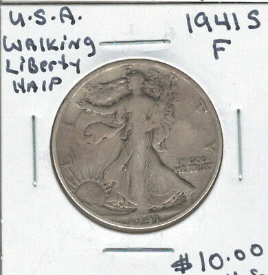 United States USA 1941S Silver 50 Cents F Walking Liberty
