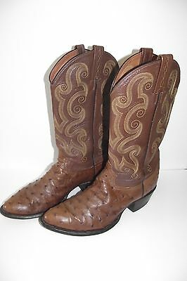 Men's Ostrich Full Quill Tony Lama Western Boots Size 10 1/2 D