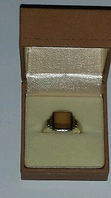 "Gold Ring Mens 9K Solid Yellow Gold Signet Size ""r"""