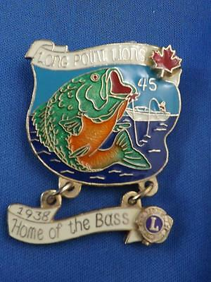 Long Point Lions Club Canada Home Of The Big Bass Pin Pinback Button Fishing