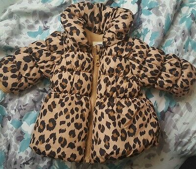 Old Navy baby girl winter coat leopard print size 0-3 months