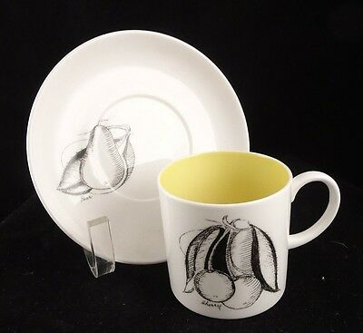 Susie Cooper Wedgwood Black Fruit Demitasse Cup Saucer Cherry Pear Yellow