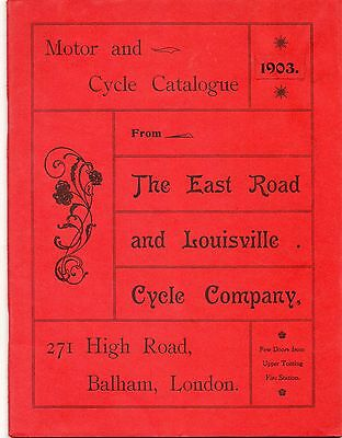 Vintage Motor & Cycle Catalogue.East Road & Louisville Cycle Co. 1903. London.
