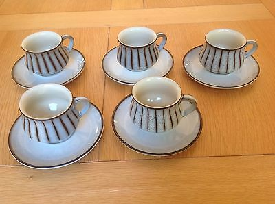 Vintage Retro Denby Studio Five Coffee Cups And Saucers Grey VGC 60's 70's