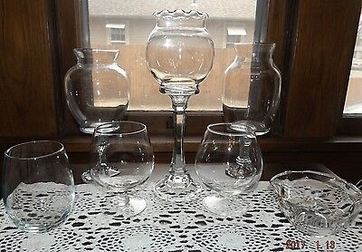 Set/7 Open Glass Containers-Candy Buffet, Wedding/Holiday/Party, Mixed Heights