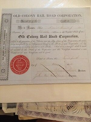 1850 Old Colony Railroad Corporation Stock Certificate 20 Shares