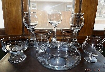 Set/7 Open Glass Bowls/Containers-Candy Buffet, Wedding/Holiday/Party