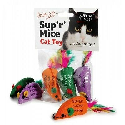 3 Catnip Mice With Tail Feathers   Cat Kitten Toys  SUP R MICE Drive Cats Crazy