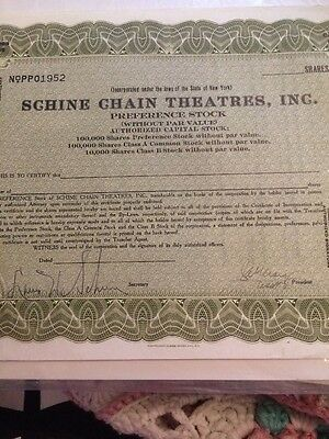 Unissued Signed Schine Chain Theatres Stock Certificate