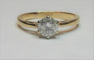 18ct Yellow Gold 0.43ct Diamond Solitaire Ring Size H 1/2