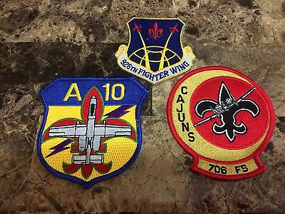 Usaf Patch Group - 706Th Fighter Squadron Mardi Gras (Set Of 3) A-10