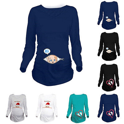 Fashion Pregnant Women Casual T-Shirt Tops Mother-to-be Loose Maternity Clothes