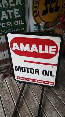 Vintage AMALIE Motor Oil Double Sided Metal Sign With Outdoor Stand